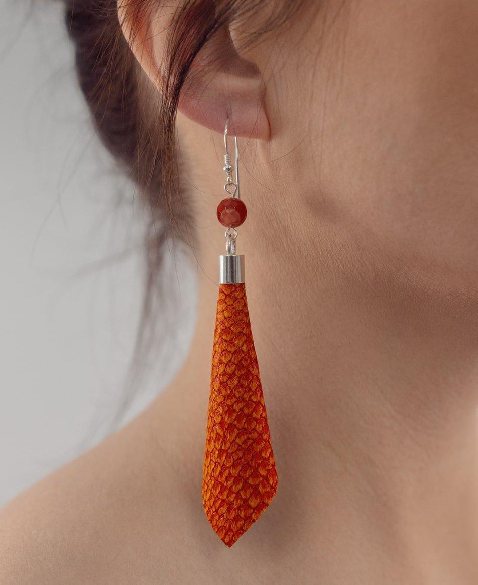 Ādas auskari - oranži