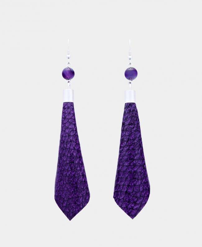 Ādas auskari - violeti