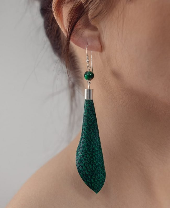 Ādas auskari - zaļi